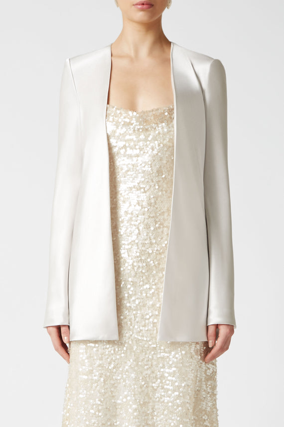 Satin Evening Jacket - Platinum