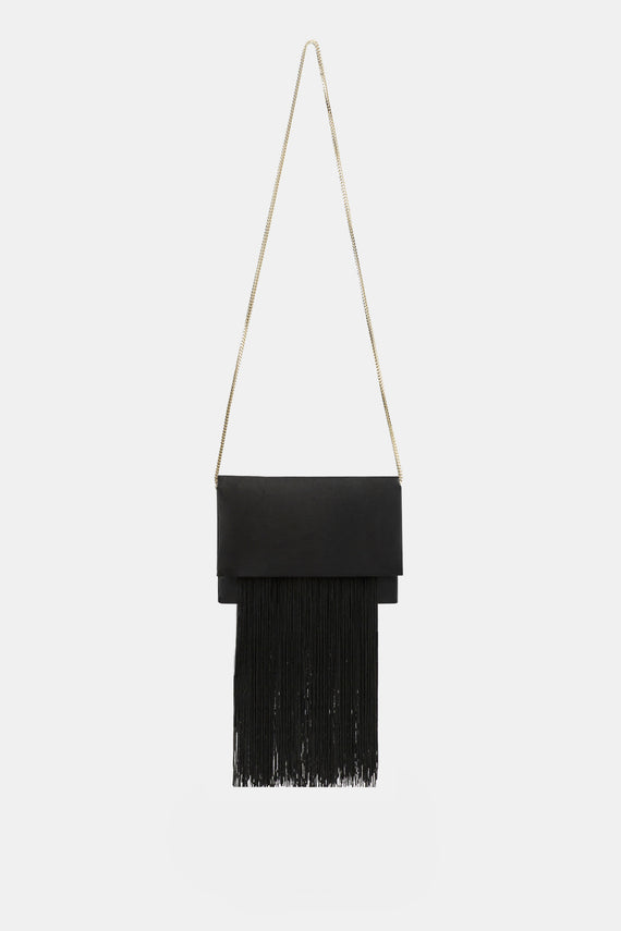 Satin Fringe Bag - Black