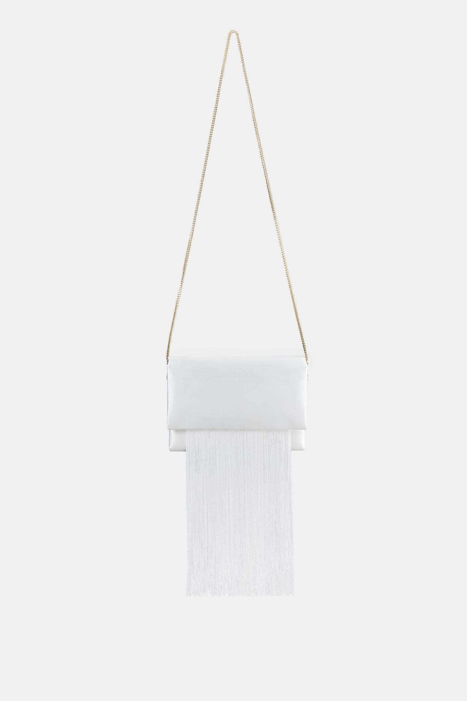 Satin Fringe Bag - White