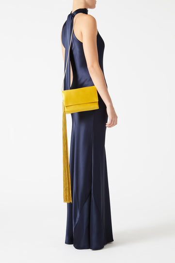 Satin Tassel Bag - Mustard Gold