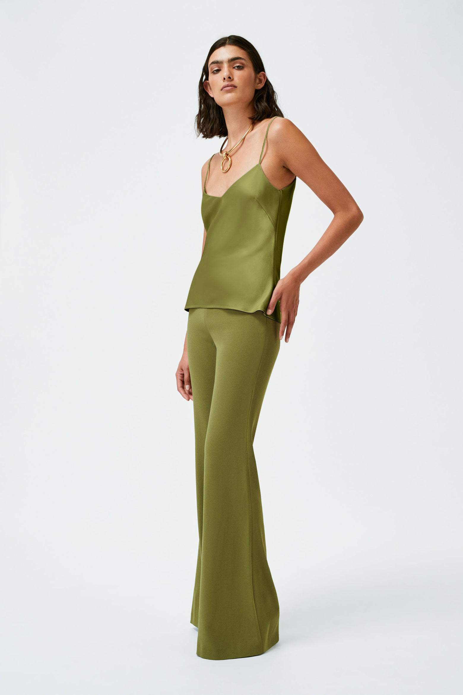 Satin V-Neck Camisole - Safari Green