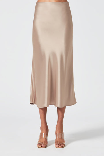 Satin Valletta Skirt - Nude