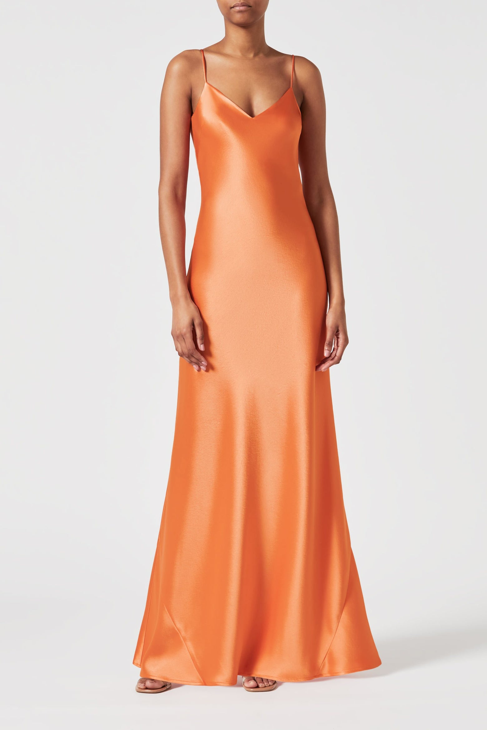 Satin V-Neck Slip Dress - Apricot