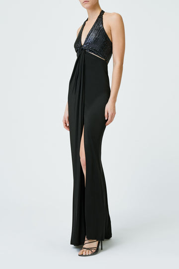 Sequin Eclipse Gown - Midnight & Black