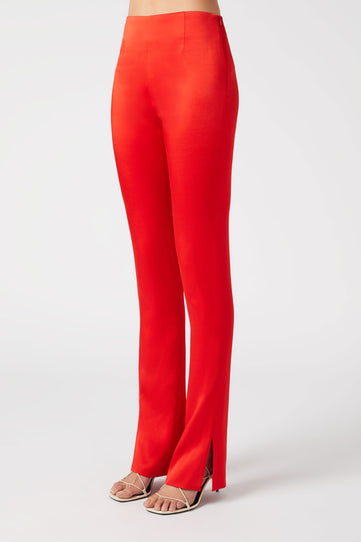 Slashed Satin Tuxedo Trousers - Red