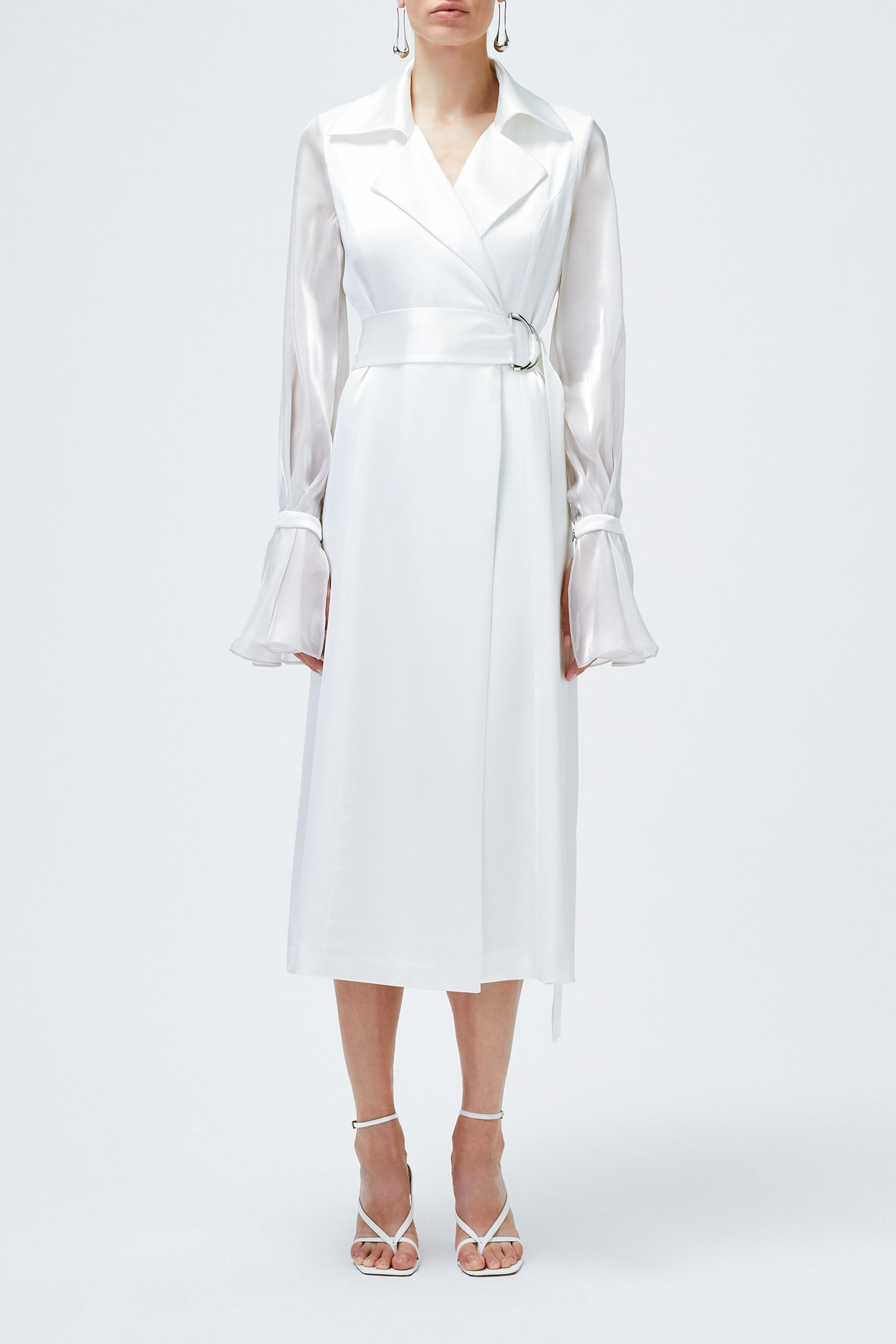 Organza Trench Dress - White