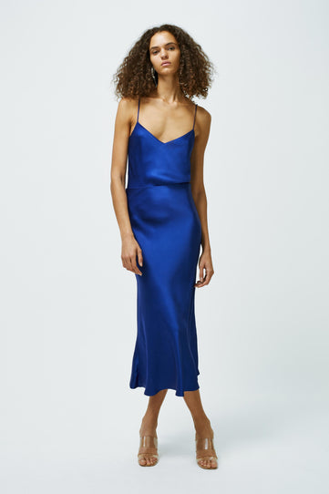 Satin Valletta Skirt - Cobalt
