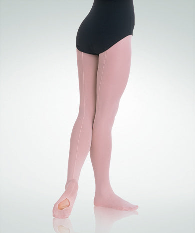 Girls Mesh Back Seam Convertible Tights (Theatrical Pink)
