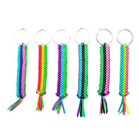 AA130KR Neon Square Crafty 3-Row Braid Key Ring - 12 pcs pack unit