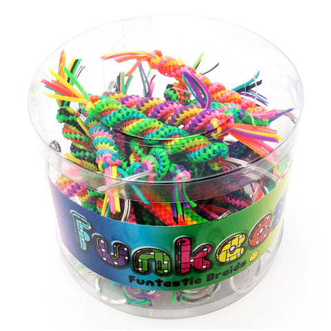 AA130TKR Twisted and Square Neon Crafty Braid Key Ring Tub - 36 Pcs Tub