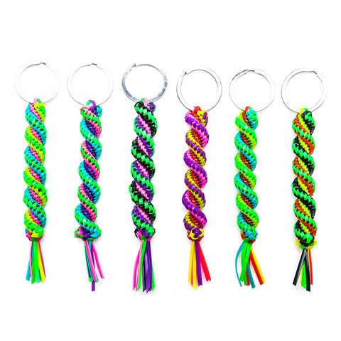 AA131KR Neon Twisted 16mm Braid Key Ring - 12 pcs pack unit