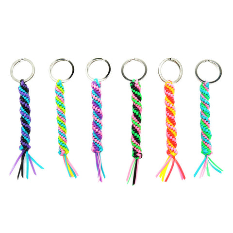 AA132KR Neon Twisted 11mm Crafty Braid Key Ring - 12 pcs pack unit