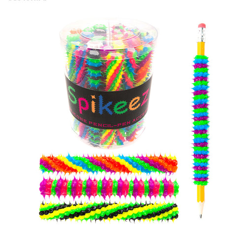 AA134TPCX Assorted Spiral and Stripes Spiky Pencil Pen Jackets Tub - 24 pcs Tub