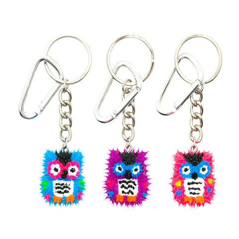 AA137KR-7 Spikeez Owl Critter Key Ring Charm - 12 Pcs Pack Unit
