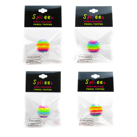 AA138PT-1 Glow In The Dark Spiky Striped Silicone Pencil Topper - 12 Pcs Pack Unit