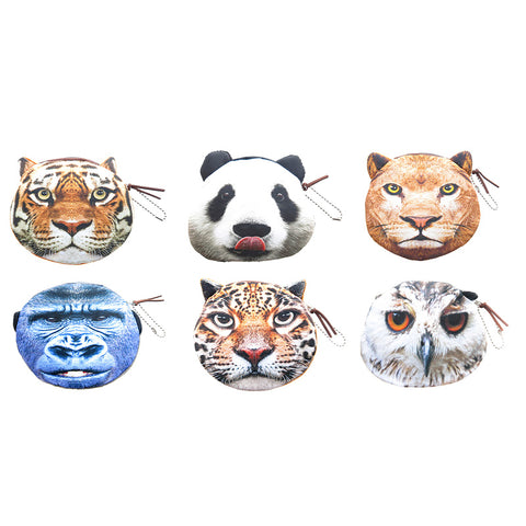 AA501PU-1X Photo Real Wild Life Coin Purses With Zipper - 12 Pack Unit