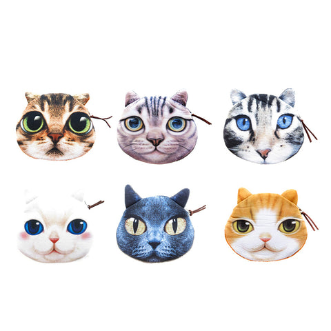 AA501PU-13X Photo Real Cat Coin Purses With Zipper - 12 Pack Unit