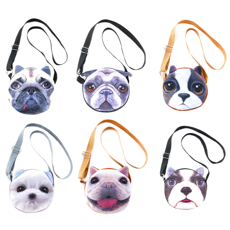 AA502PU-2X Photo Real Dog Cross - Body Bags - 6 Pcs Pack Unit