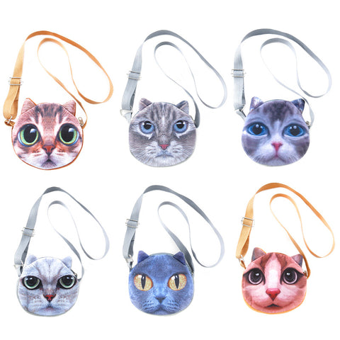 AA502PU-13X Photo Real Cat Cross - Body Bags - 6 Pcs Pack Unit