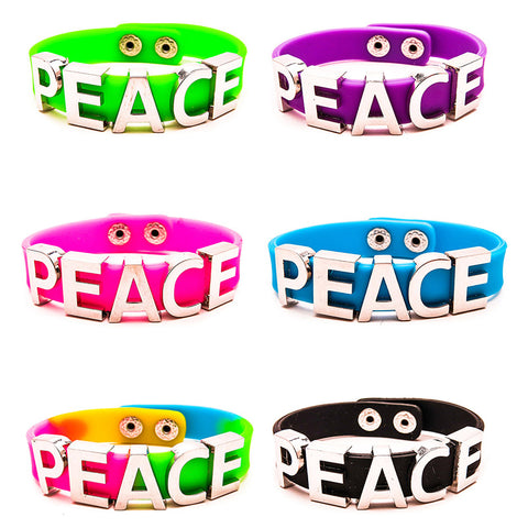 AF215B-7 Peace Charm on Silicone Bracelet - 12 pcs Pack Unit