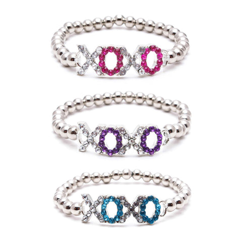 "AF249B:BLING RHINESTONE ""XOXO"" WORD BEADED BRACELET-12 PCS PACK UNIT"