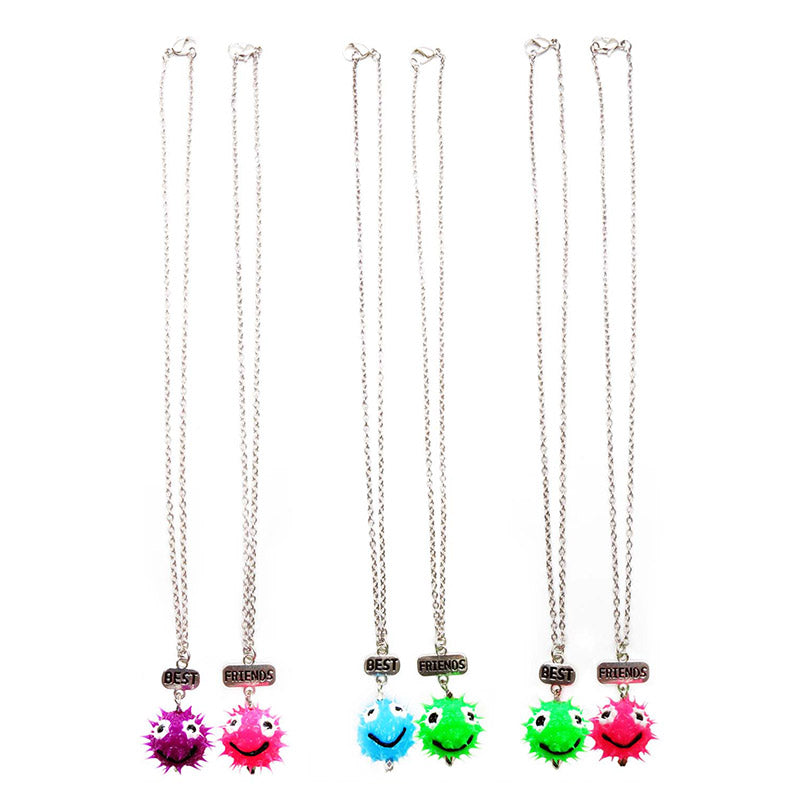 BF132N Best friends Set of 2 Smiley Spiky Ball Necklace - 12 Sets Pack Unit