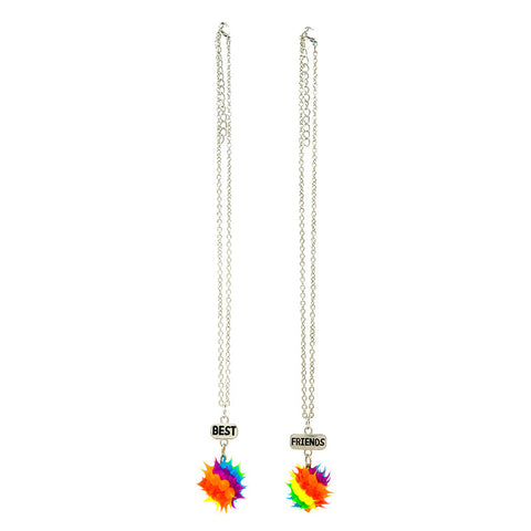 BF150N Best Friends Set of 2 Rainbow Spiky Ball Necklace - 12 Sets Pack Unit