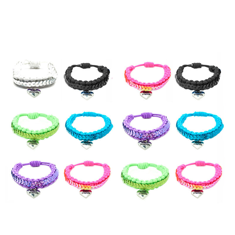 BF209B Best Friend Sequin Stretch Bracelet Set of 2 - 12 Sets Pack Unit