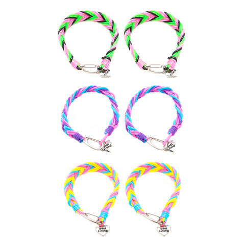 BF216B Best Friends Heart Neon Snake Braid Bracelet Set of 2 - 12 Sets Pack Unit