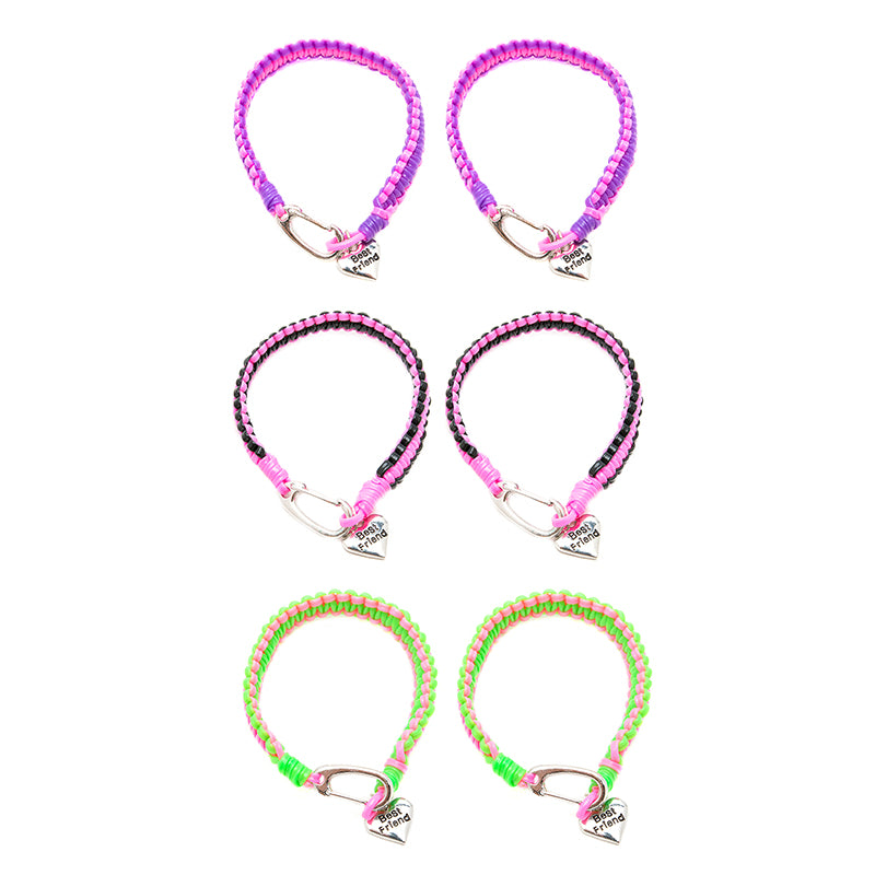 BF217B Best Friends Heart Neon Cobra Braid Bracelet Set of 2 - 12 Sets Pack Unit