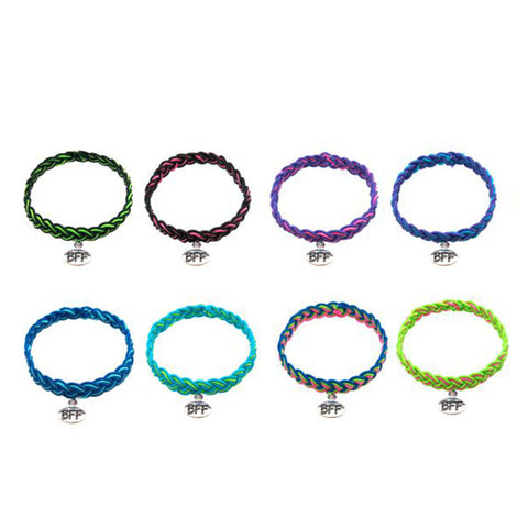 BF276B Best Friend Neon Stretch Braid Bracelet Set Of 2 - 12 Sets Pack Unit