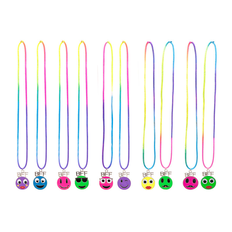 BF282N Emoticons BFF Faces Stretch Necklaces Set of 2 - 12 Sets Pack Unit