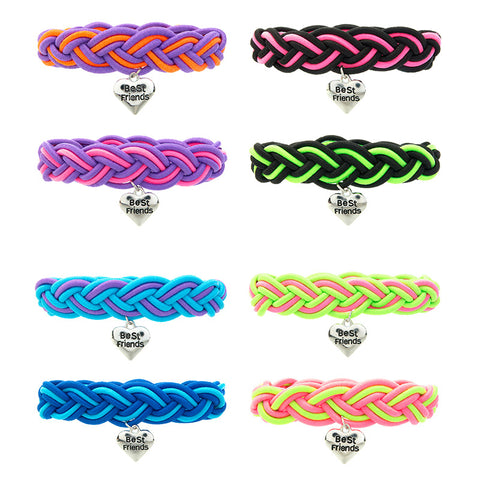 BF331B Best Friends Heart Stretch Bracelets Set Of 2 - 12 Pc Pack Unit