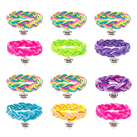 BF332B Best Friends Heart Tie Dye Stretch Bracelets Set Of 2 - 12 Pc Pack Unit