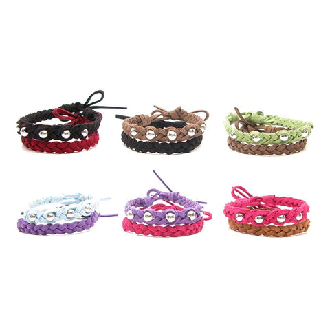 BLC1095B Set of 2 Assorted Faux Suede Bracelet With Silver Beads - 12 Sets Pack Unit