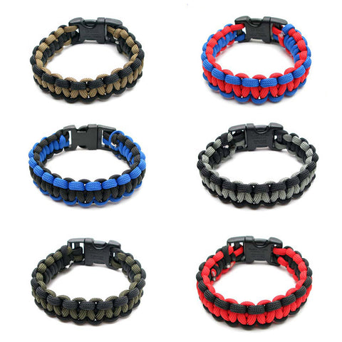 BLC1132B Two Tone Survival Paracord Bracelet - 12 Pc Pack Unit