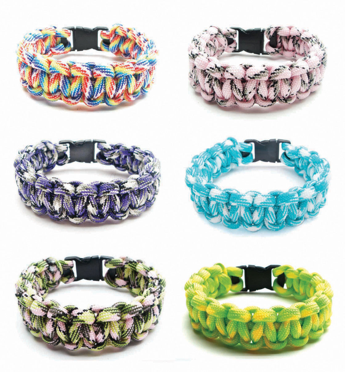 BLC1134B Multi-Color Paracord Braid Bracelet - 12 Pcs Unit