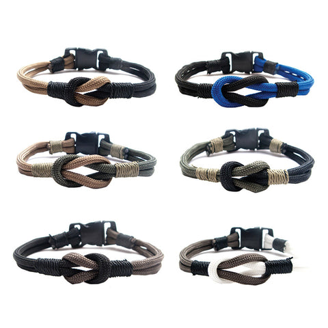 BLC1156B 2 Tone Survival Paracord Knot Bracelet - 12 pcs Pack Unit