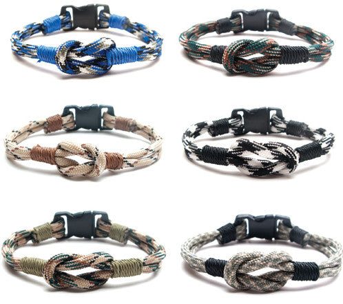 BLC1157B Center Knot Camouflage Wrapped Paracord Bracelet - 12 Pcs Pack Unit
