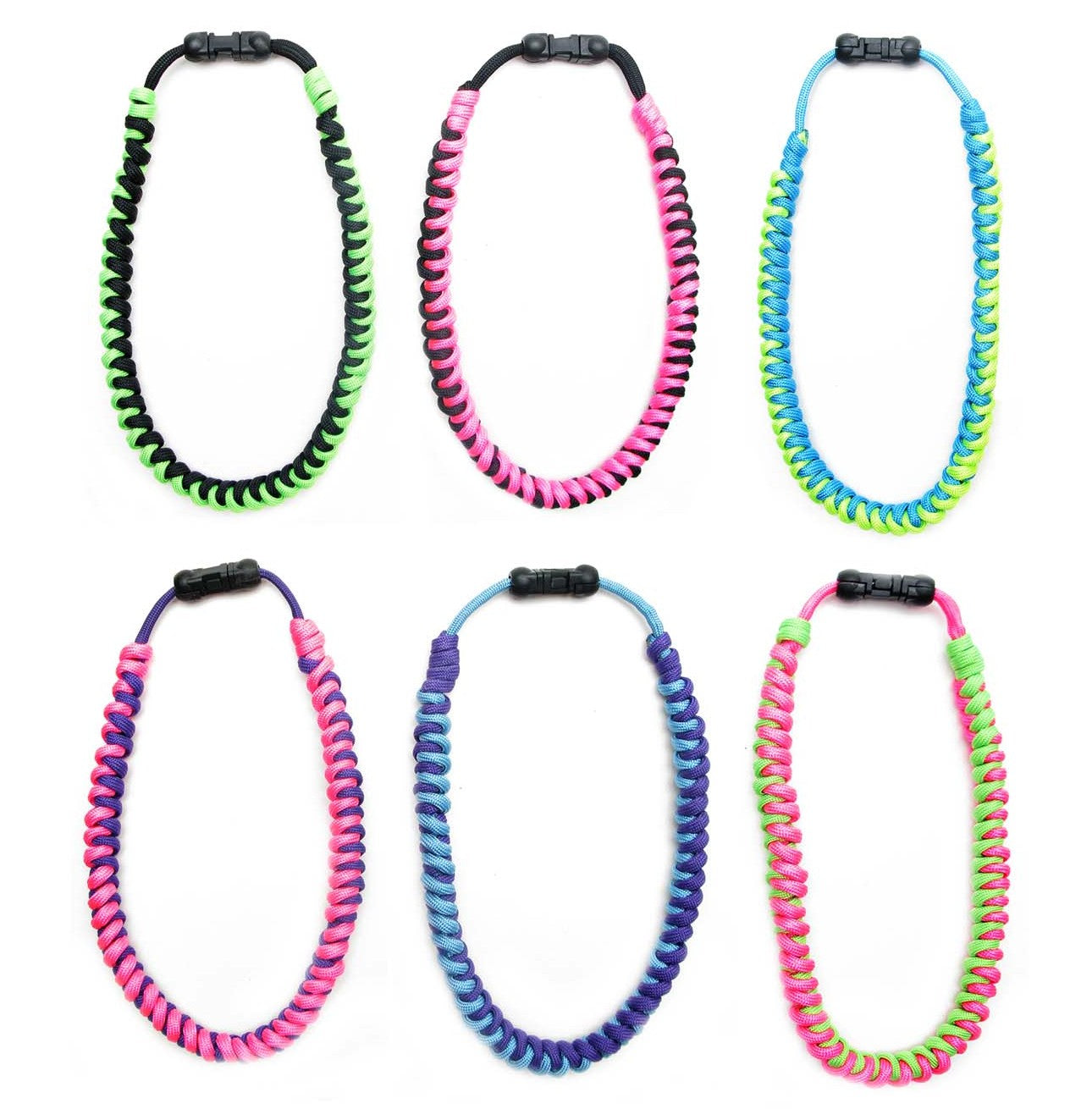 BLC1159N-G 2-Tone Twisted Braid Paracord Necklace ''Girl Colors'' - 12 Pcs Pack Unit
