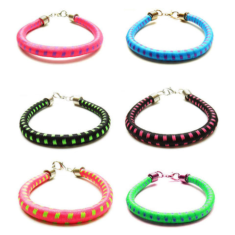 BLC1172B 6MM Print Bungee Bracelets For Girls - 12 Pc Pack Unit