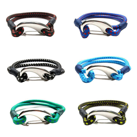 BLC1177B 2 Row Print Bungee Bracelet With Print Silver Clasp - 12 pcs Pack Unit