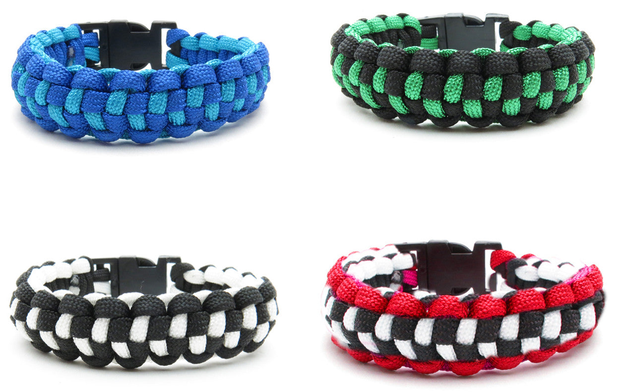 BLC1200B ''Check'' Pattern Paracord Braid Bracelets -12 Pcs Pack Unit