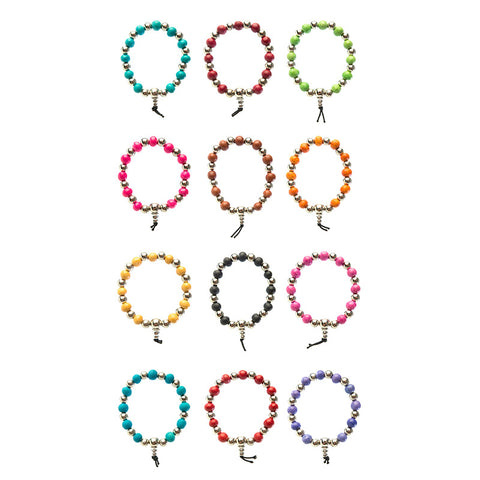 CRB1570B Scented Ceramic with Silver Beads Bracelet - 12 pcs Pack Unit