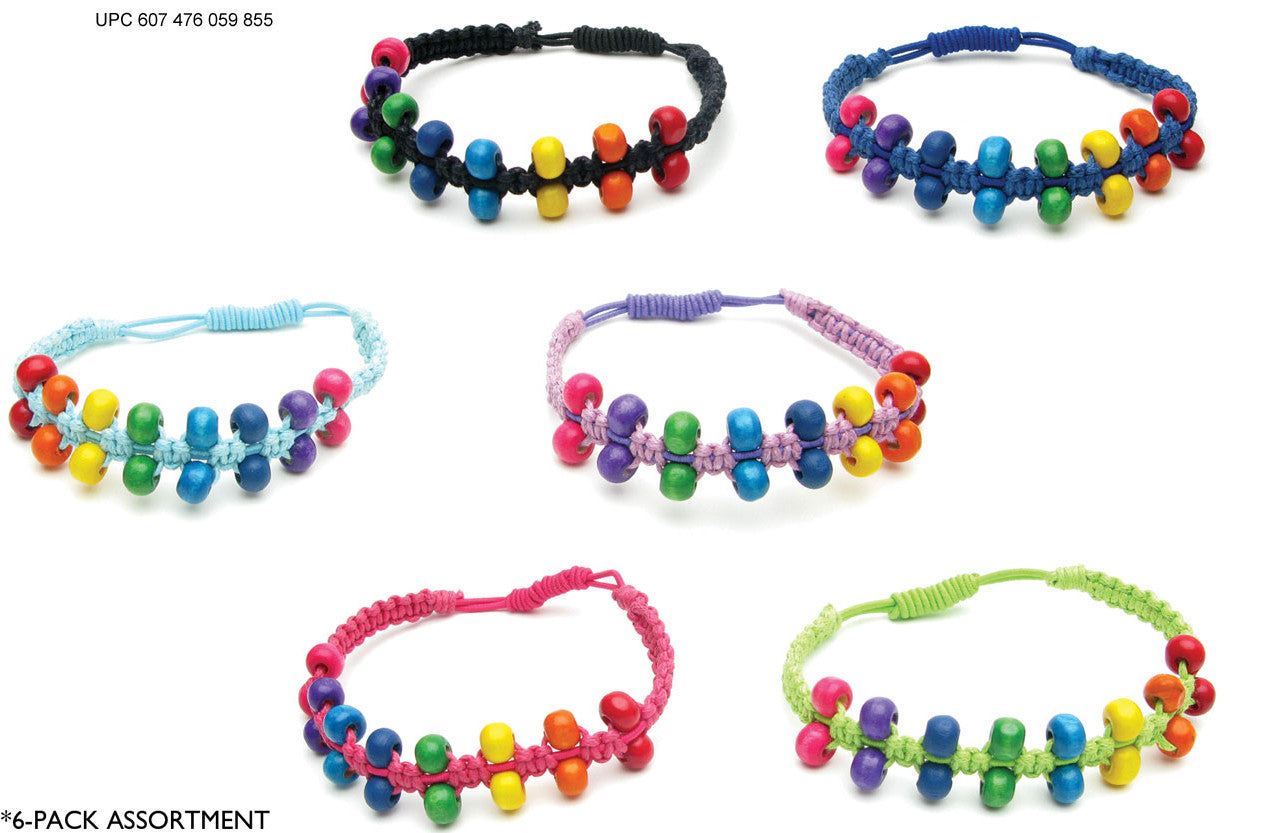 CRC1047B Stretch Cotton Braid Bracelet with Multi Beads 12 Pcs Pack Unit