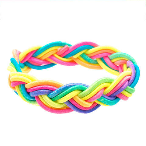 CRC1095BZ Rainbow Stretch Braid Bracelets - 12 pc Pack Unit
