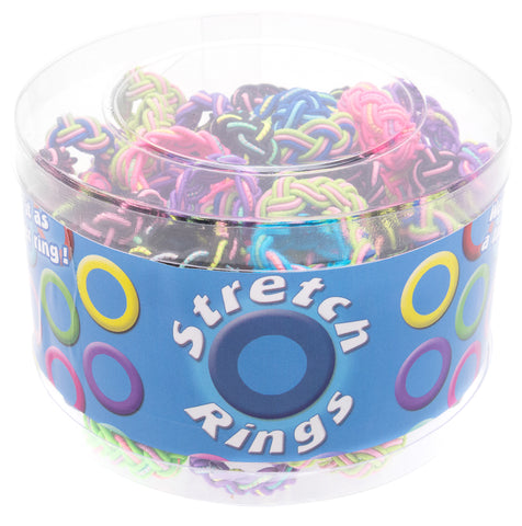 CRCT1232RX Assorted Colored & Glittery Stretch Rings Mini Tub - 120 pcs Tub