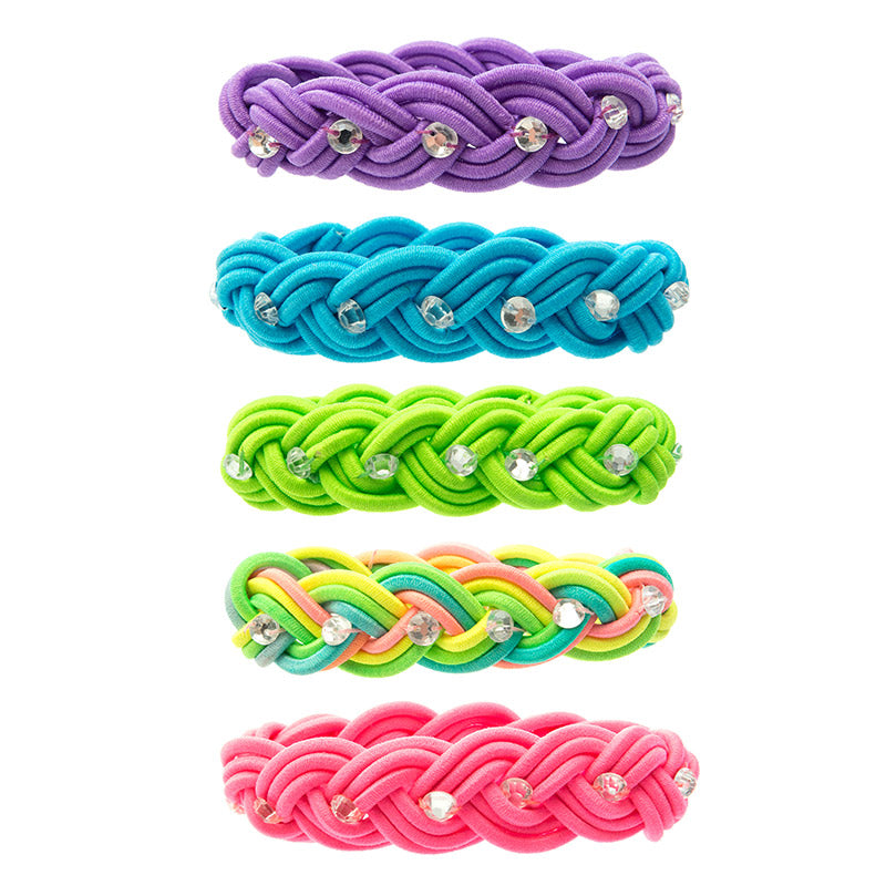 CRC1413B Stretch Braid Bracelets with Acrylic stones - 12 pc Pack Unit