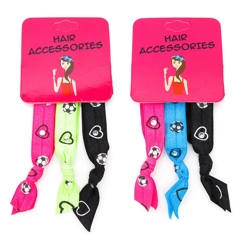 CRC1506B-2 Soccer Print Pony Holder Bracelet - 12 Trio Pack Unit