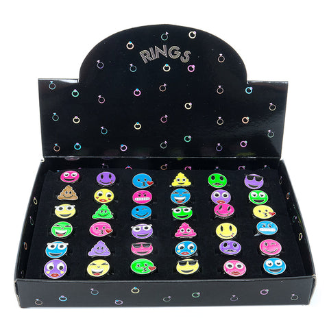 CRM1997DR Emoticons Faces Adjustable Rings - 36 pcs Ring Tray